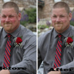 before and after- red face